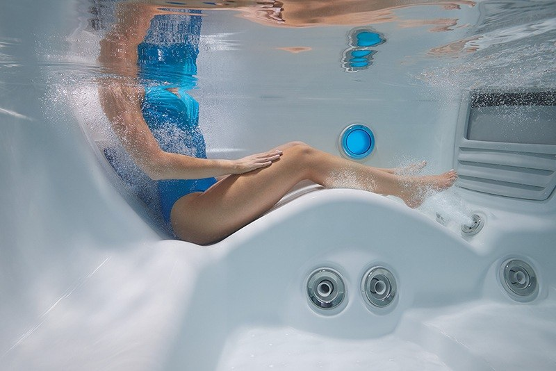 High-tech hot tubs are engineered with comfortable ergonomic seating.
