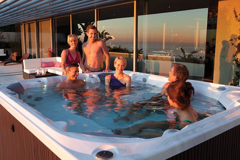 A salt water hot tub brings the ocean to your home.