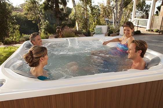 On a beautiful sunny day four friends relax and talk in a limnelight flair hot tub
