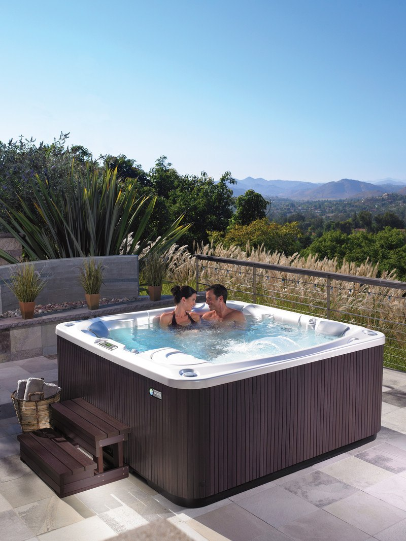 An expansive vista can also factor into hot tub placement