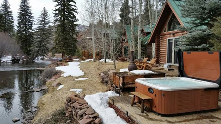 Hot Spring spa at mountain cabin