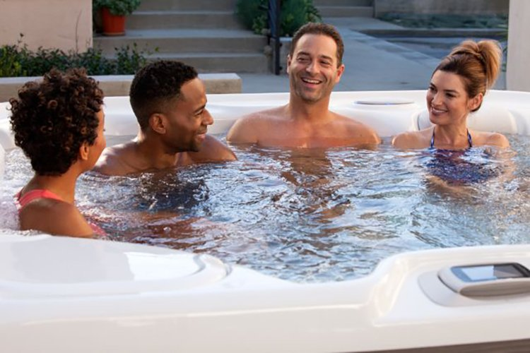 Friends enjoying a hot tub